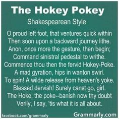 Shakespeare does the Hokey Pokey.