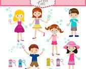 ON SALE girls clip art - summer activity kids clip art, soap bubbles blow clip art, summer clip art, instant download clip art