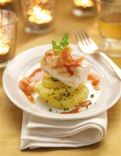 monkfish tails with mushrooms and prawns