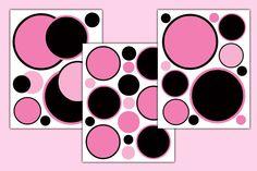 Pink Black Polka Dot Circle Wall Decal Baby Girl Nursery Geometric Sticker Decor