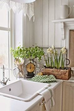 """Cottage Kitchen with Limestone counters, Rohl RA1469XMAPC2 """"Country Kitchen"""" Two Handle Kitchen Faucet, Stone Tile, Flush"""