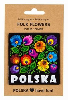 Polish folk art magnet featuring Lowicz folk art of flowers or roosters. The art of Wycinanki, or Polish paper cuttings, comes from a centuries-old tradition, where vividly colored paper is cut to cre