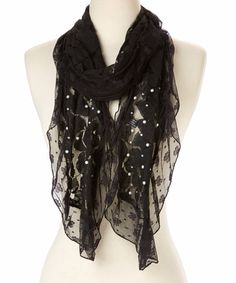 Look what I found on #zulily! Black Floral Lace Linen-Blend Scarf by Pretty Angel #zulilyfinds