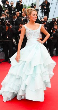 Blake Lively is the undisputed queen of Cannes ....  She arrived at the premiere of Slack Bay in an eggshell blue gown with a full, ruffled skirt form Vivienne Westwood. Cannes 2016