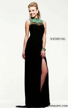 Black High Neckline Sherri Hill 21370 Jersey Prom Dress