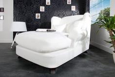 Design XXL Sessel PERTH weiß Strukturstoff Longchair 140cm