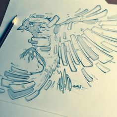 Trendy Ideas For Bird Wings Drawing Illustration Design Reference Drawing Sketches, Cool Drawings, Sketching, Drawing Style, Graffiti Art, Desenho Tattoo, Animal Drawings, Line Art, Amazing Art
