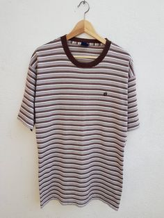Vintage Hang Ten Tshirt Tee Striped Surfing Skates Unisex Adult Chest 20 wsqDP
