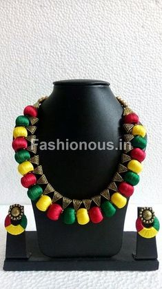 Buy silk thread bangles new design, silk thread necklace, silk thread earrings and jhumkas online. Customized Silk Thread jewellery set at best affordable prices for women's jewellery shopping online. Silk Thread Bangles Design, Silk Thread Necklace, Thread Jewellery, Jewelry Sets, Diy Jewelry, Handmade Jewelry, Fashion Jewelry, Jewelry Making, Polymer Clay Jewelry