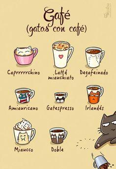 Cómic gato en casa, gatos con café