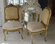 French Antique Friday - a beautiful pair of Louis XV style chairs with original paint
