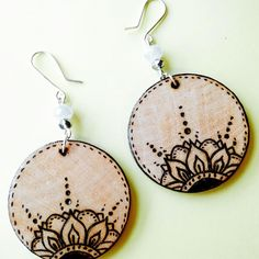 Wood Burned earrings More More