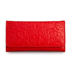 Loungefly Red Wallet Sugar Skull Checkbook Style Trifold Pocketbook Gothic
