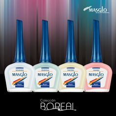 Colección Boreal #SoyMasglo #Masglo #MasgloLOVERS #ColeccionBoreal #NailPolish Vodka Bottle, Nail Polish, Nail Art, Drinks, Nails, Beauty, Food, Decorations, French Tips