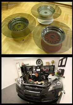 Furniture made from auto parts, etc