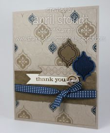 """Stamps:  Mosaic Madness, Just Believe Ink:  Crumb Cake, Midnight Muse, Soft Suede, and VersaMark Paper:  Crumb Cake, Midnight Muse, Soft Suede, and Very Vanilla card stock Accessories:  Big Shot, Modern Mosaic Embossing Folder,  Mosaic Punch, Bitty Banners Framelits, Neutrals Designer Buttons, Midnight Muse 3/8"""" Stitched Satin Ribbon"""