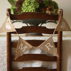 wedding chair back mr mrs hessian bunting