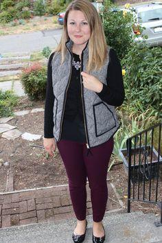 J Crew Herringbone Vest, black sweater, purple ankle slacks, black flats, workwear, vest to work