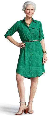 The beautiful Marilyn shows us that 60 is CHIC! We adore her in the #CAbi Spring '13 Emerald Shirt Dress!