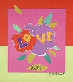 Yves SAINT-LAURENT (1936 - 2008) LOVE 2001 Affiche originale. Impression en couleurs. 54,8 x 50 cm - encadrée