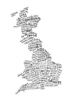 British Food Map print Food Print Map Poster by OldEnglishCo