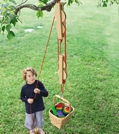 Pulley Set with Wooden Reels and Nylon Ropes $70