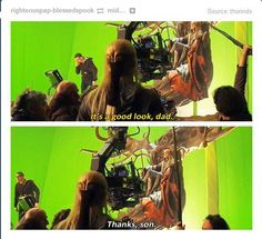 Actual commentary between Orlando Bloom and Lee Pace while filming The Hobbit: The Desolation of Smaug.