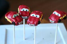 Lightening McQueen from Cars Cake Pops by Sweet Lauren Cakes---soo cute!