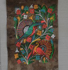 mexican folk art bark paintings Birds / Phoenix and por BetseyDo Kids Canvas Art, Canvas Art Quotes, Art Deco Bar, Gond Painting, Painting Canvas, Aboriginal Art For Kids, Art Deco Tattoo, Intro To Art, Kunst Der Aborigines