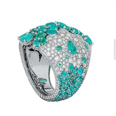 VanLeles - Zanzibar Collection - ring featuring paraibas and diamonds crafted in…