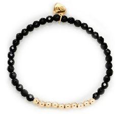 Sundar Designs 14K Gold Filled Balls with Gemstone Stretch Bracelet - BLACK ONYX