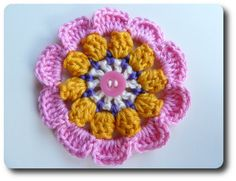 Bavarian Popcorn Flower Motif By Barbara Smith - Free Crochet Pattern - (made-in-k-town.blogspot)