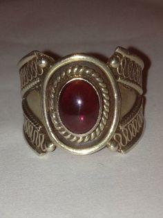 Garnet Sterling Ring Size 7 Red Silver 925 Stone by BargainBitz, $36.00
