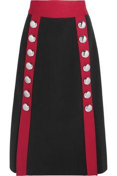 DOLCE & GABBANA Embellished Wool-Blend Skirt. #dolcegabbana #cloth #skirts