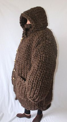 12 kg coat gigantic monster extreme knitting giant wool coat chunky merino sheep wool knit coat for men hand knitted by Strickolino Knitting Humor, Baby Hats Knitting, Hand Knitting, Knitting Patterns, Crochet Leg Warmers, Knit Crochet, Knitted Coat, Wool Coat, Diy Kleidung Upcycling
