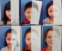 We've had a wonderful two days back at school and couldn't wait to get something up on our walls. These are our half portrait sketches...
