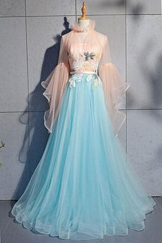 Evening dresses with sleeves - Blue tulle lace long prom dress, blue tulle evening dress – Evening dresses with sleeves Evening Dress Long, Evening Dresses With Sleeves, Indian Gowns Dresses, Blue Evening Dresses, Prom Dresses Blue, Sexy Dresses, Fashion Dresses, Formal Dresses, Prom Gowns