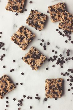 Raw Chocolate Chip Cookie Dough Bars (made from almond milk pulp)