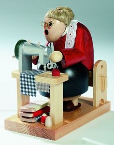 KWO-Sewing-Grandma-German-Christmas-Incense-Smoker-Handcrafted-in-Germany-New