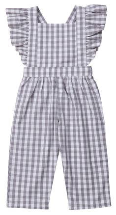 Toddler Girl Plaid Jumpsuit - - Toddler Girl Plaid Jumpsuit Stylish Jumpsuits Your toddler girl will surely look fabulous with this ruffled jumpsuit. Stylish plaid design is perfect for your little fashionista. Dresses Kids Girl, Frocks For Girls, Kids Outfits, Frocks For Babies, Stylish Dresses For Girls, Baby Dresses, Toddler Girl Outfits, Little Girl Fashion, Kids Fashion