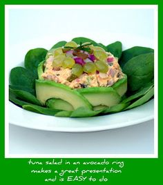 An easy to make avocado ring makes a great way to serve a tuna salad. #holidayavocado @Amazing Avocado