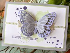 Butterfly Basics - Stampin' Up! by lorie Handmade Birthday Cards, Greeting Cards Handmade, Perpetual Birthday Calendar, Beautiful Handmade Cards, Butterfly Cards, Pretty Cards, Creative Cards, Diy Cards, Scrapbook Cards