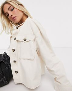 Find the best selection of Only cropped shacket in cream. Shop today with free delivery and returns (Ts&Cs apply) with ASOS! Cream Jacket Outfit, Cream Style, Summer Outfits, Summer Clothes, Capsule Wardrobe, Spring Summer Fashion, Style Me, Raincoat, Asos