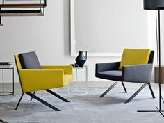 Upholstered fabric armchair with armrests THEO Theo Collection by B