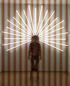 Yochai Matos, You're a Saint, Fluorescent light installation, 185 x 270 cm © Light Art Installation, Neon Lighting, Wall Lighting, Lighting Design, Art Basel Miami, Stage Design, Booth Design, Art Plastique, Angels And Demons