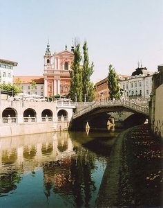 The famous Three Bridges crossing the Ljubljanica river, Slovenia