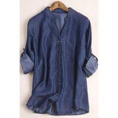Stylish Stand Collar Long Sleeves Deep Blue Women's Denim Shirt - DEEP BLUE M