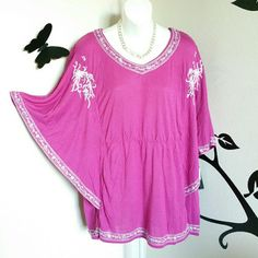 "Pink Angel Sleeve Embroidered Top Such a sweet top! This pink top has embroidery throughout, angel style short sleeves, a v-neck, and an empirewaist front. Material is viscose.  Size is 3X Bust: Approximately 54"" Length: Approximately 38""   New with tags. Dex Tops"