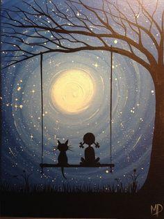 I wish I may 9 x 12 acrylic on canvas panel by Michael Prosper, $30.00 Girl on swing