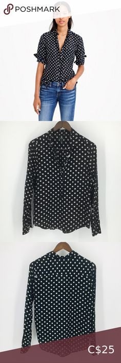 JCREW Black Semi Sheer LongSleeve Button Top Small Excellent Used Condition Semi Sheer Polka dot black and white long sleeve hidden full button down front blouse/top/shirt by J Crew Women's size Small ***Happy to provide measurements upon request J. Crew Tops Ruffle Collar Blouse, Light Blue Hoodie, Embellished Shorts, Sequin Tank Tops, Bell Sleeve Blouse, Colored Denim, Tunic Shirt, Striped Linen, Boho Tops